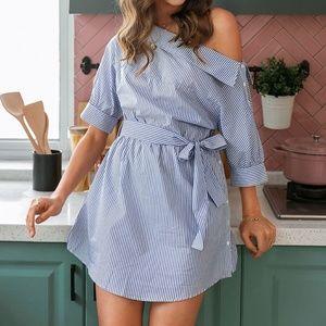 off shoulder striped belted button Blue dress